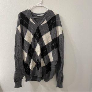 Lyle& Scott checkered sweater gray XL Ireland